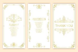 conjunto de convite de ornamento vintage vetor