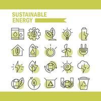 conjunto de ícones de energia ecológica sustentável, renovável e verde