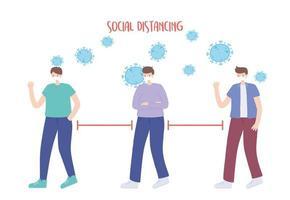 prevenção do coronavírus com distanciamento social vetor