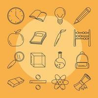 volta às aulas e conjunto de ícones de linha de educação
