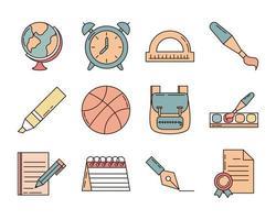 conjunto de ícones de escola e educação
