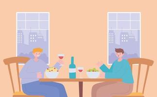 restaurante sobre prevenção do coronavírus com jantar de distanciamento social vetor