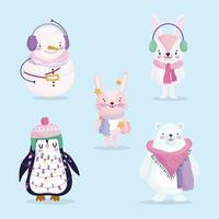 feliz natal conjunto de personagens fofos