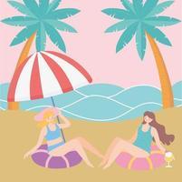 férias de verão com garotas na praia