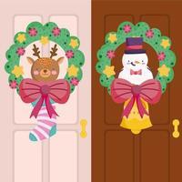 guirlanda decorativa de natal com rena e boneco de neve