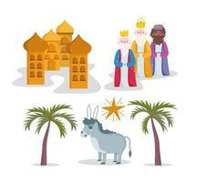 conjunto de desenho animado de natividade fofo