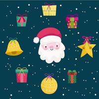 banner de feliz natal com papai noel e ícones fofos vetor