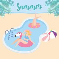 férias de verão com as meninas na piscina
