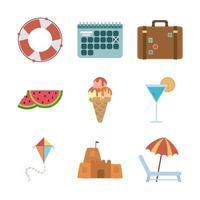 conjunto de ícones de férias de verão e praia