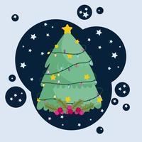 árvore de natal com luzes, estrelas e decoração de bagas de azevinho