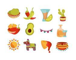 cinco de mayo, conjunto de ícones de decoração mexicana