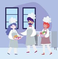 chefs femininos e masculinos cozinhando receitas em quarentena