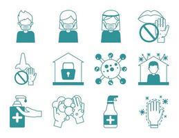 Conjunto de ícones de prevenção de pandemia de coronavírus