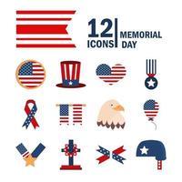 dia do memorial, conjunto de ícones da celebração nacional americana