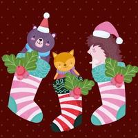 banner de feliz natal com personagens fofinhos