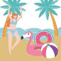férias de verão com a garota na praia