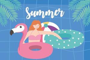 férias de verão com a garota na piscina