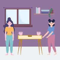 mulheres fazendo atividades de quarentena dentro de casa