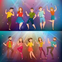 Dancing people retro banner set