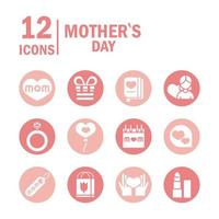 conjunto de ícones de celebração do dia das mães