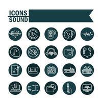 conjunto de ícones de som e áudio, música e volume