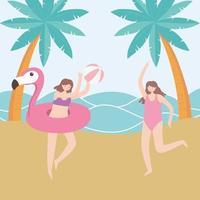 férias de verão, meninas na praia