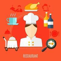 negócio de restaurante em conjunto de ícones decorativos de hotel