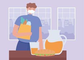 homem usando uma máscara facial com uma sacola de supermercado