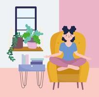 menina meditando, atividade de auto-isolamento em quarentena