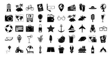 férias de verão e conjunto de ícones de silhueta de praia