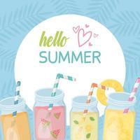 olá verão com sucos e composição de coquetel de frutas