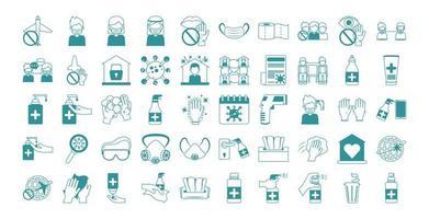 Conjunto de ícones de prevenção de pandemia de coronavírus vetor