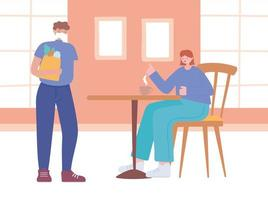 restaurante sobre prevenção do coronavírus com distanciamento social vetor