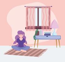 garota praticando ioga, atividade de auto-isolamento em quarentena