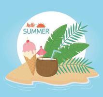 olá verão com coquetel de frutas e composição de sorvete