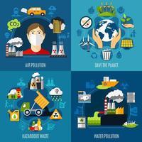 conjunto de ícones de conceito de problemas ambientais
