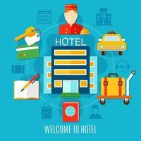 faixa de serviços e instalações de hotel