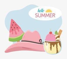olá composição de verão com sorvete