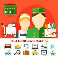 fundo das instalações do hotel e conjunto de ícones