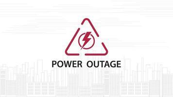 queda de energia, sinal vermelho de aviso com ícone triangular vetor