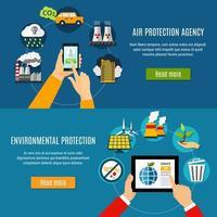 conjunto de banner de proteção ambiental