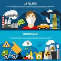 conjunto de banners de problemas de poluição