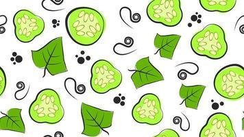 textura sem costura brilhante com fatias de pepino verde vetor