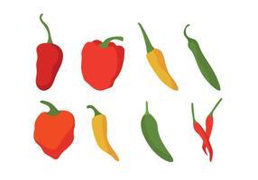 Diferentes, pimentões, pimentas, vetorial, jogo vetor