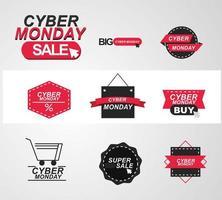 conjunto de ícones de venda cibernética segunda-feira