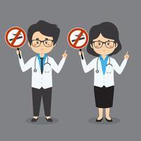 médicos segurando cartaz de proibido fumar vetor