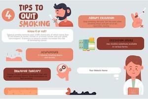 infográfico de dicas para parar de fumar vetor