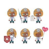 Mascote médica afro-americana em várias poses vetor