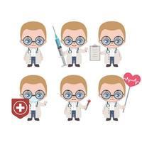 Mascote médico masculino caucasiano em várias poses vetor