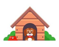 cão em desenho animado de casinha de cachorro